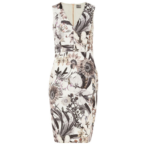 Phase Eight Damen Print-Kleid Botanical, creme/grau