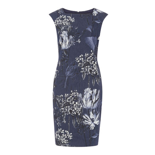 Phase Eight Damen Print-Kleid Mabel, marine/cremeweiß