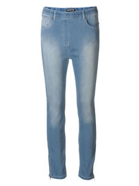 Mocca by J.L. Miracle 360° Jeans 7/8 mit Zipper, hell-jeansblau
