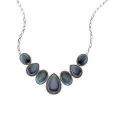 ZEEme Fashion Collier Metall Lack blau