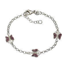 ZEEme for Kids Armband 925/- Sterling Silber Kristall pink
