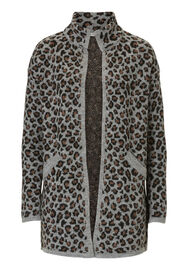 Betty Barclay Leo Print Strickjacke, Schwarz/Braun - Grau