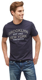 Tom Tailor T-Shirt mit Print, knitted navy