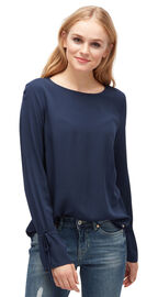 Tom Tailor Denim Bluse mit Bindeband am Ärmel, real navy blue