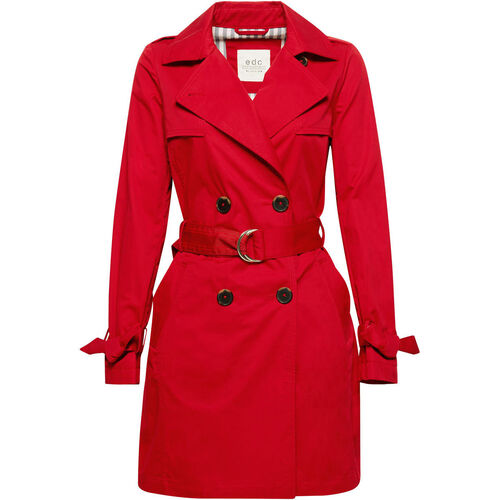 edc by Esprit Damen Trenchcoat, rot, L | Bekleidung > Mäntel > Trenchcoats | Baumwolle | edc by Esprit