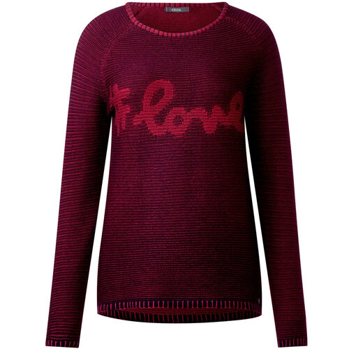 Cecil Damen Strick-Pullover, bordeaux, XL