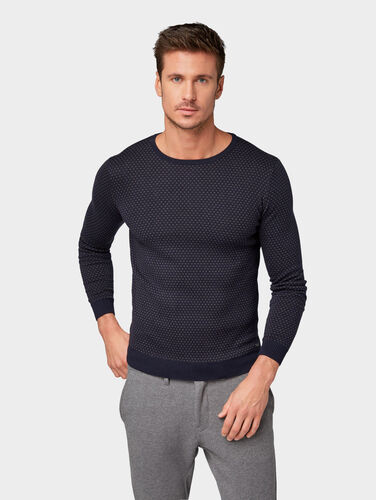 Tom Tailor Pullover & Strickjacken Strickpullover mit Jacquard-Muster, Navy Brown Preisvergleich