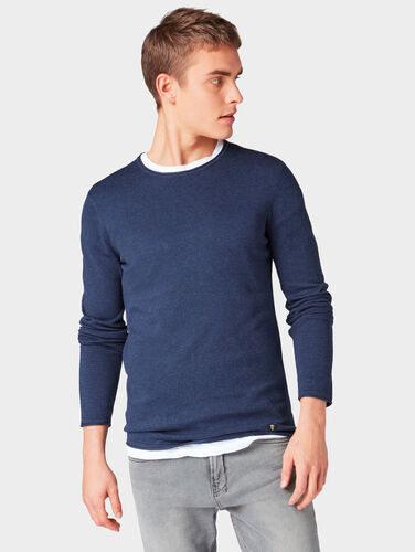 Tom Tailor Denim Melierter Pullover, Sky Captain Blue Non-Solid, S Preisvergleich