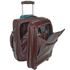 Piquadro Blue Square 2-Rollen Business Trolley Leder 49 cm Laptopfach, mahagonibraun