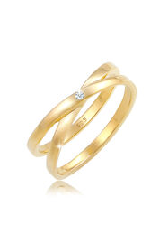 DIAMORE Ring Wickelring Cross Diamant (0.02 ct.) 925 Silber, Gold