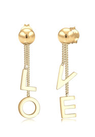 Elli Ohrringe Ohrhänger Love Wording Trend Blogger 925 Silber, Gold
