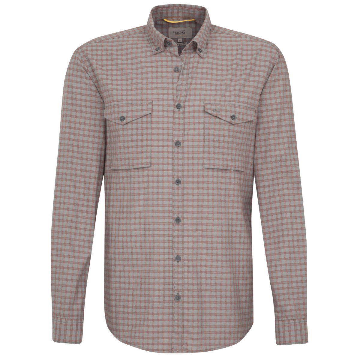 many styles buy good factory outlets Casual-Hemd regular fit Langarm Button-Down-Kragen Karo, stone, XL