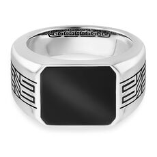 Cai Ring 925/- Sterling Silber rhodiniert oxidiert Onyx