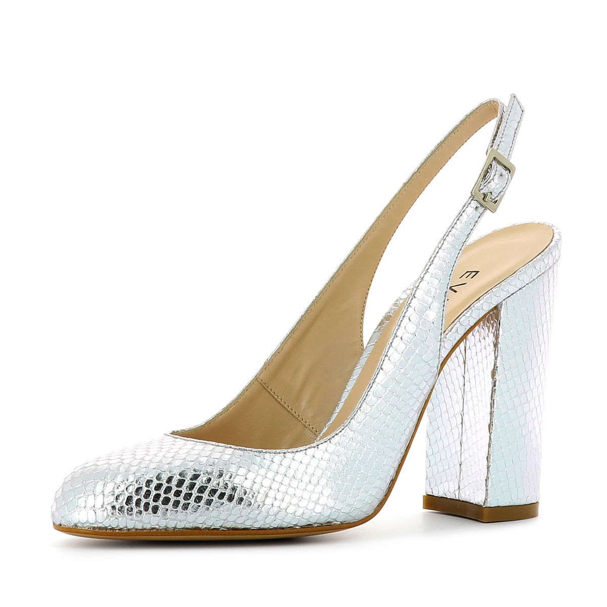 Evita Shoes ILENEA Damen Sling Pumps Pythonprägung Silber 37