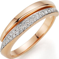 "Cara d´Or Damen Ring ""15075-600-R5"", 585er Roségold mit Brillanten"