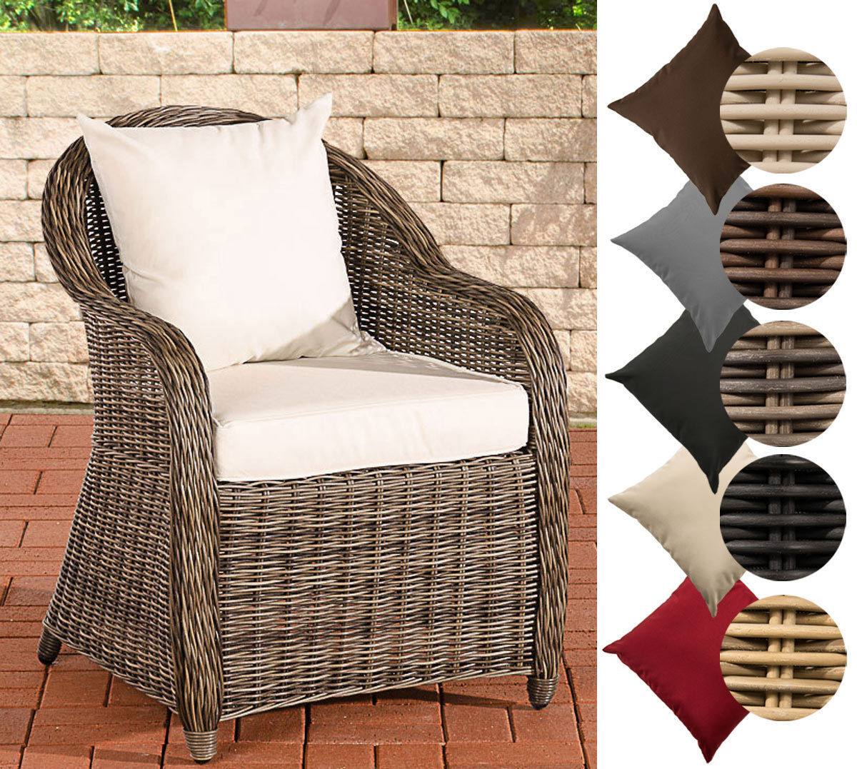 clp poly rattan sessel farsund 5mm rund rattan alu gestell 100 rostfrei grau meliert. Black Bedroom Furniture Sets. Home Design Ideas