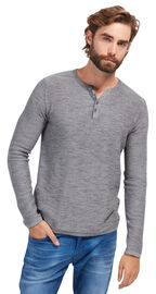 Tom Tailor Pullover mit Knopfleiste, explicit grey