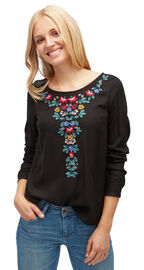 Tom Tailor Bluse mit floraler Stickerei, black
