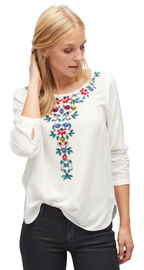Tom Tailor Bluse mit floraler Stickerei, whisper white