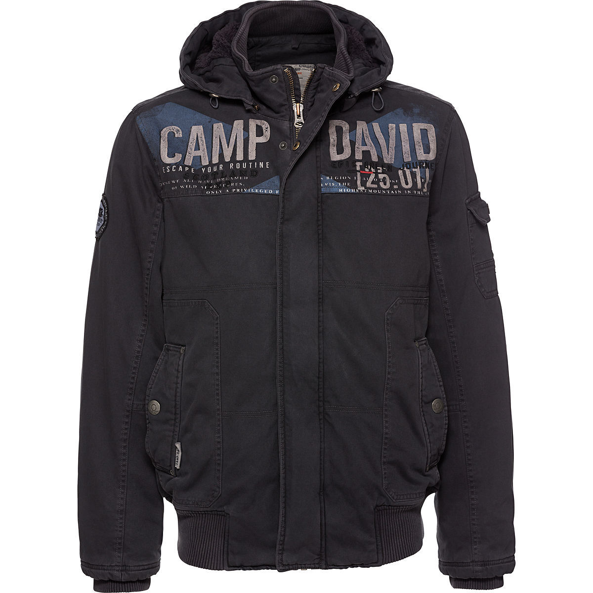 camp david herren jacke mit kapuze anthrazit s karstadt. Black Bedroom Furniture Sets. Home Design Ideas