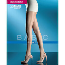Desirée Damen Feinstrumpfhose Basic Shine 20, transparent, 2er Pack