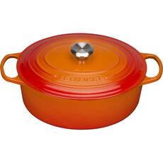 Le Creuset Bräter Signature oval 31 cm, ofenrot