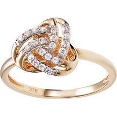 Glory Damen Ring mit Brillanten, 375er Gelbgold