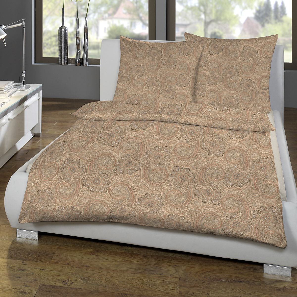 estella jersey bettw sche paisley 3 teilig lachs 135x200 cm karstadt online shop. Black Bedroom Furniture Sets. Home Design Ideas