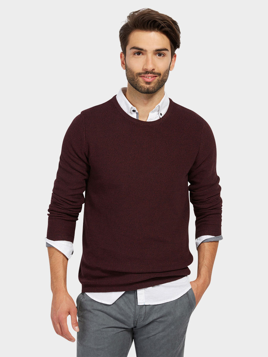 tom tailor strickpullover deep burgundy red karstadt online shop. Black Bedroom Furniture Sets. Home Design Ideas
