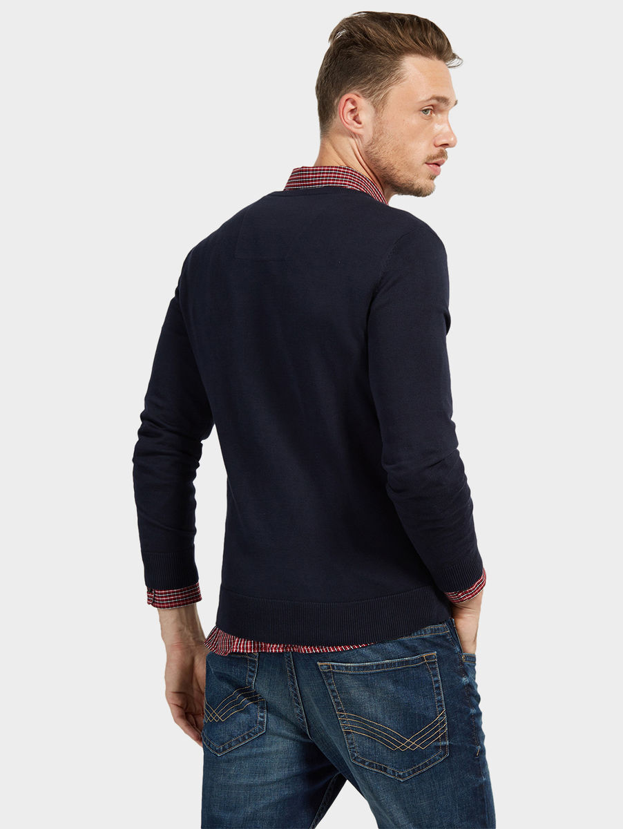 tom tailor pullover mit v ausschnitt knitted navy knitted navy xxl karstadt online shop. Black Bedroom Furniture Sets. Home Design Ideas