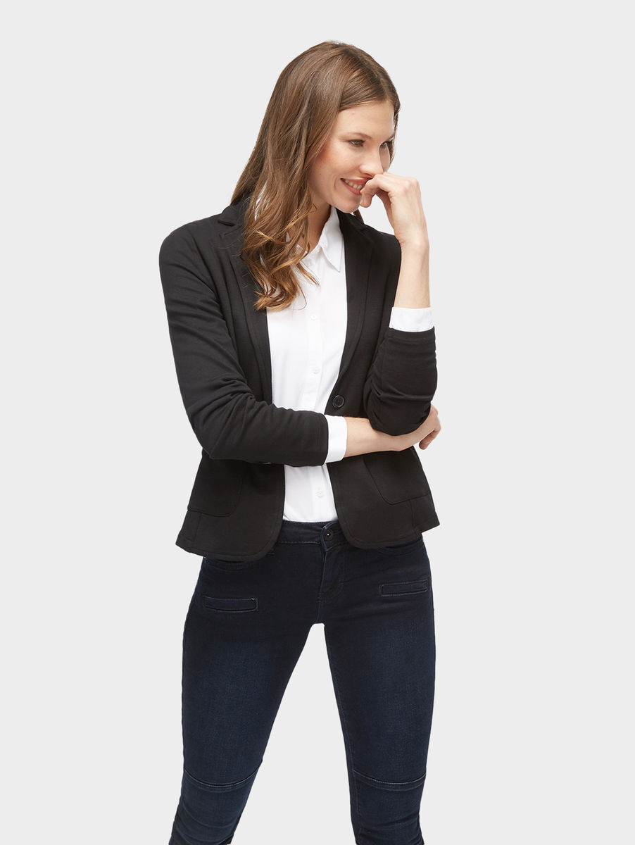 tom tailor blazer mit taschen black karstadt online shop. Black Bedroom Furniture Sets. Home Design Ideas