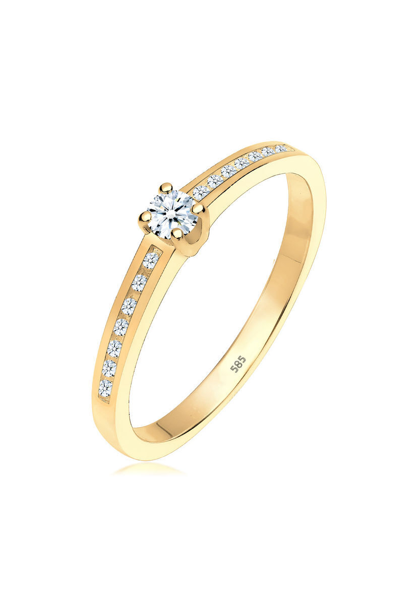 Diamore Ring Verlobungsring Diamant 0 24 Ct 585 Gelbgold Weiss