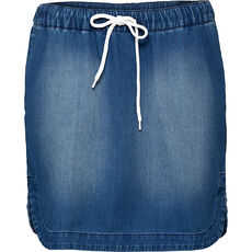 QS by s.Oliver Damen Jeansrock mit Tunnelzug
