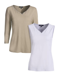Mocca by J.L. Shirt & Top Set 2-Teilig, taupe-weiss