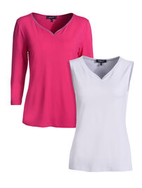 Mocca by J.L. Shirt & Top Set 2-Teilig, himbeere-weiss