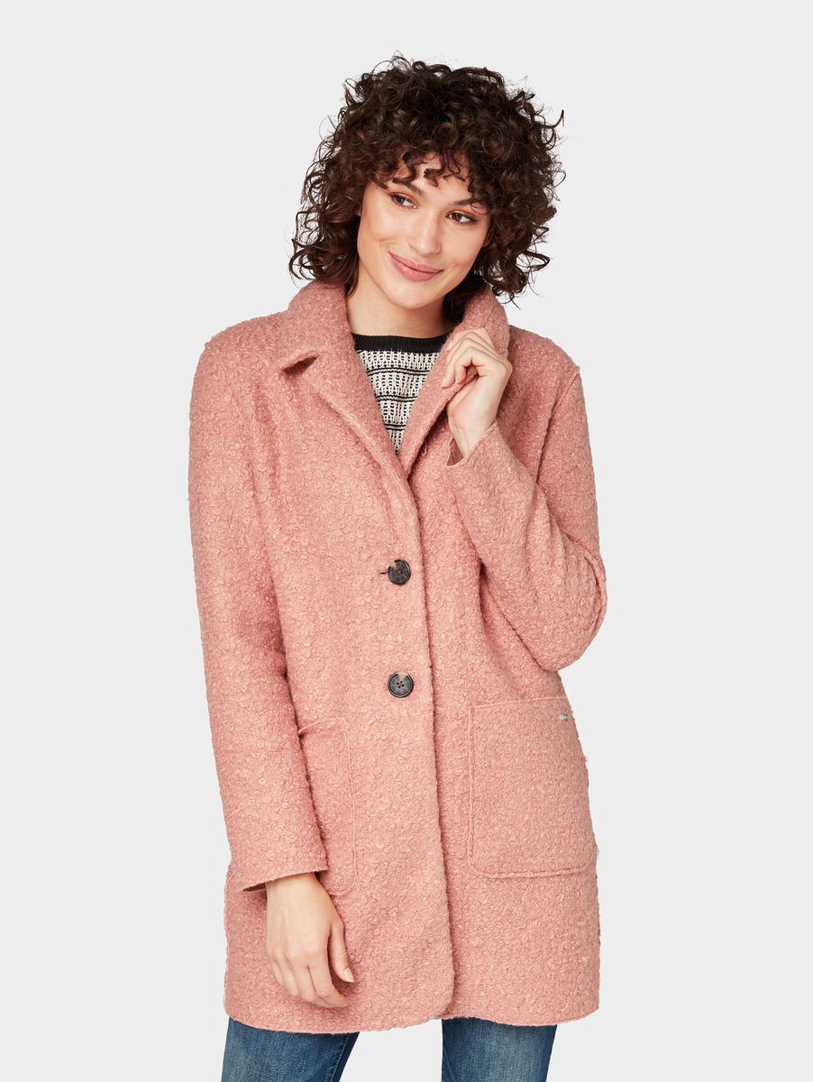 Tom tailor boucle mantel rosa
