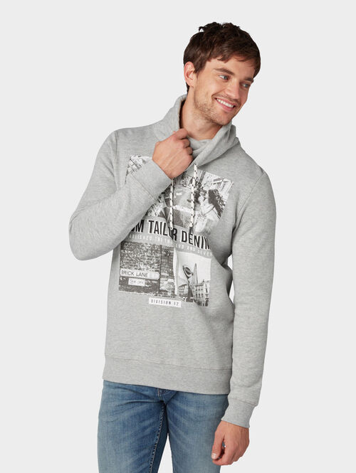 Tom Tailor Denim Sweatshirt mit Foto-Print, Grey Melange, XS | Bekleidung > Sweatshirts & -jacken > Sweatshirts | Tom Tailor Denim