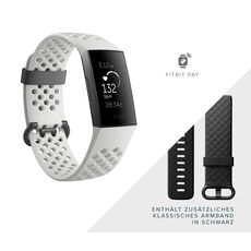 fitbit Charge 3, Fitnesstracker, Graphite/White, inkl. Wechselarmband