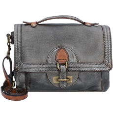 Campomaggi Handtasche Leder 26 cm, steel+cognac stained