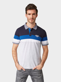Tom Tailor Gestreiftes Poloshirt, light grey mel yarn dye stripe