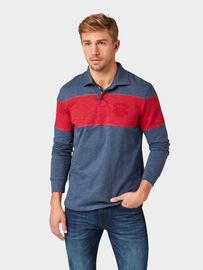 Tom Tailor Poloshirts Langarmshirt mit Colourblocking, Indigo Ink Blue