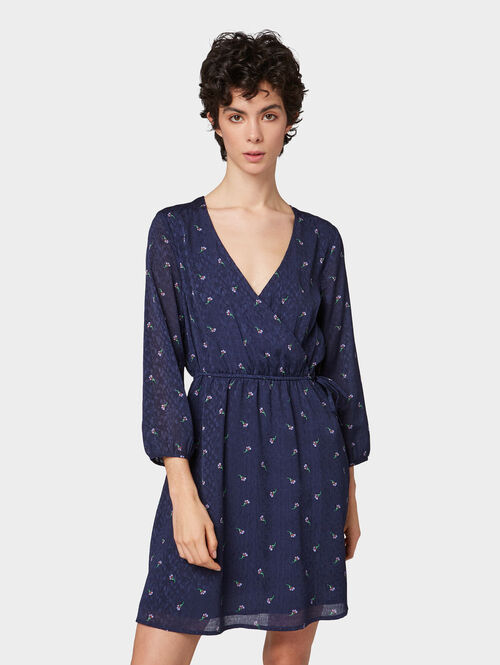 Tom Tailor Denim Kleider & Jumpsuits Kleid mit Blumenmuster, navy minimal flower print, M | Bekleidung > Homewear > Jumpsuits | Tom Tailor Denim