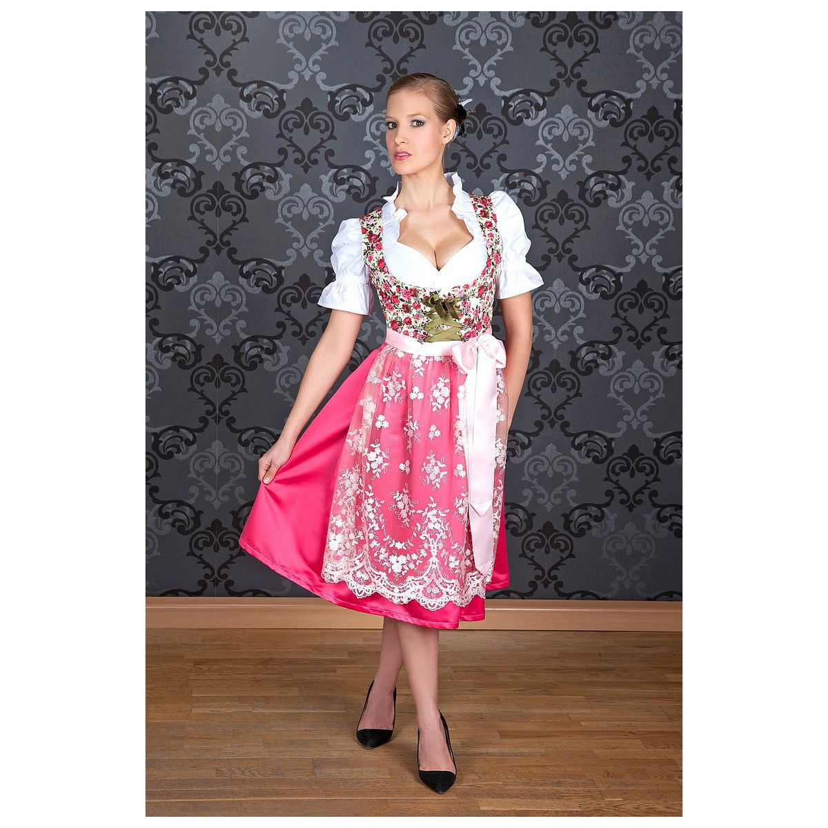 edelnice midi dirndl made in germany blumen pink 44 karstadt online shop. Black Bedroom Furniture Sets. Home Design Ideas
