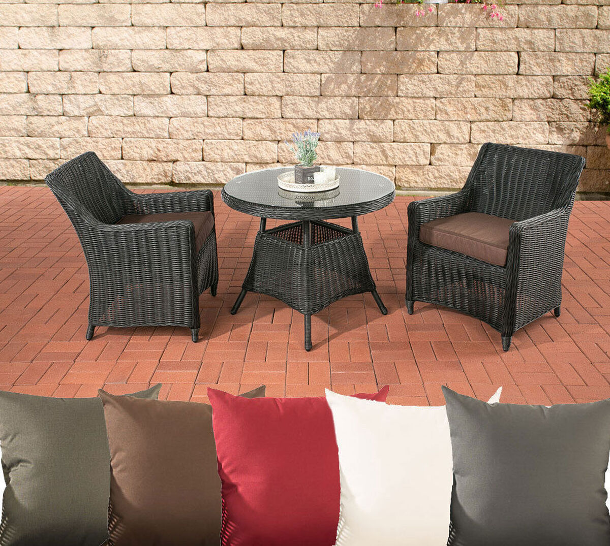 clp polyrattan balkon set ambato schwarz bezug terrabraun karstadt online shop. Black Bedroom Furniture Sets. Home Design Ideas