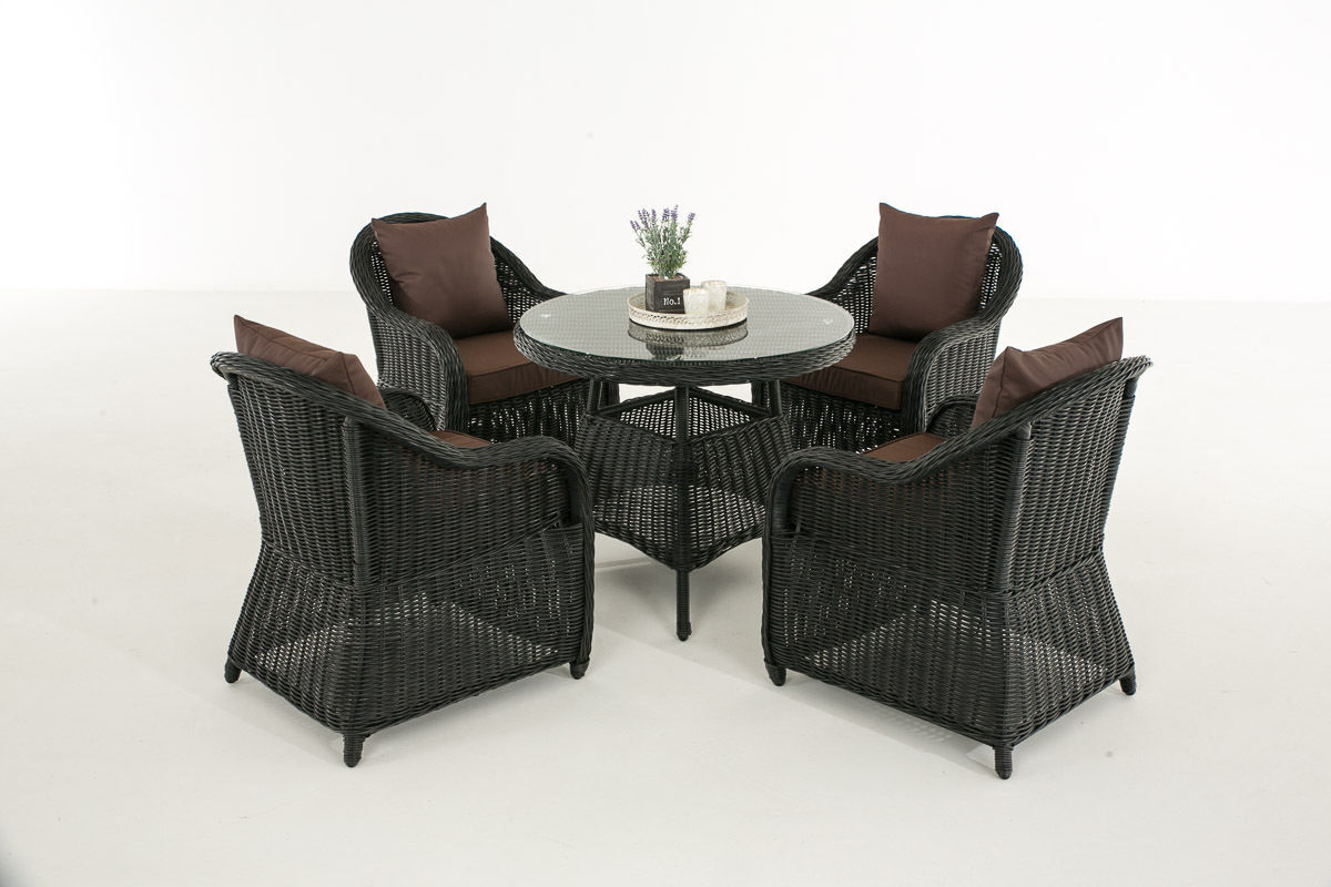 clp poly rattan luxus garten sitzgruppe farsund schwarz 4 sessel tisch karstadt online shop. Black Bedroom Furniture Sets. Home Design Ideas