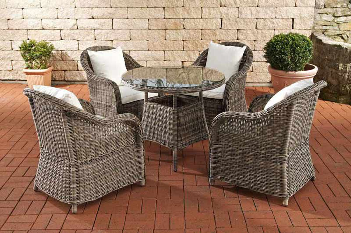 clp poly rattan luxus garten sitzgruppe farsund grau meliert 4 sessel tisch karstadt. Black Bedroom Furniture Sets. Home Design Ideas