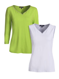 Mocca by J.L. Shirt & Top Set 2-Teilig, kiwi-weiss