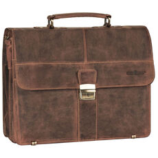 Greenburry Vintage Aktentasche Leder 38 cm mit 2 Hauptfächern, brown