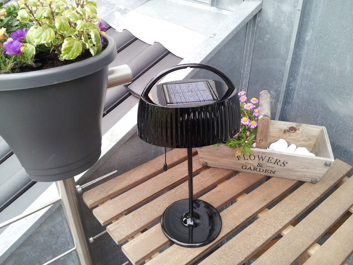 n ve led solar tischleuchte sun schwarz h 36 cm karstadt online shop. Black Bedroom Furniture Sets. Home Design Ideas