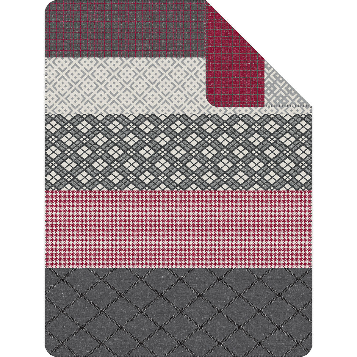 soliver jacquard decke muster mix 150x200 cm rotgrau - Decke Muster
